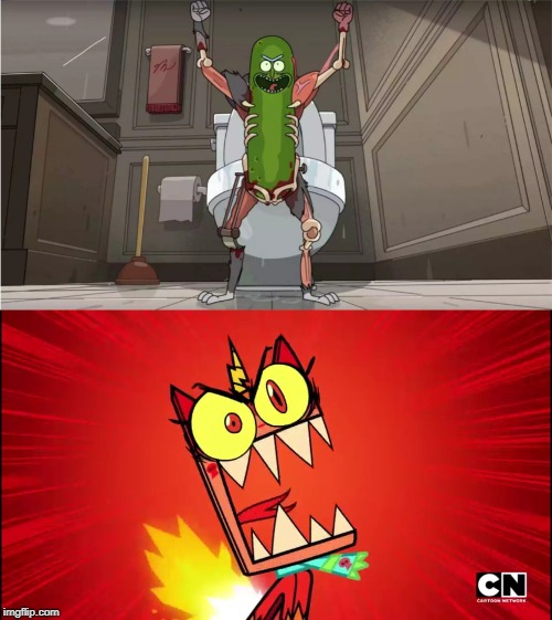 i know cats are scared of cucumbers and pickles because they think they're snakes | image tagged in angry unikitty,pickle rick | made w/ Imgflip meme maker