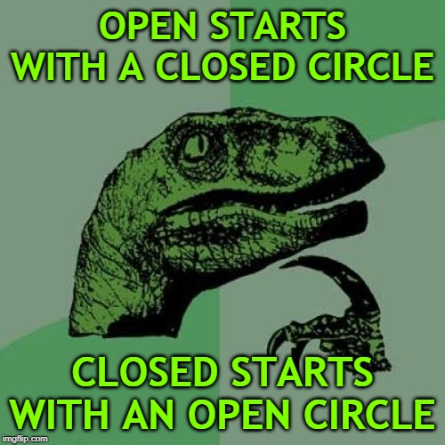 Philosoraptor | OPEN STARTS WITH A CLOSED CIRCLE CLOSED STARTS WITH AN OPEN CIRCLE | image tagged in memes,philosoraptor,circle,circles,words,irony | made w/ Imgflip meme maker