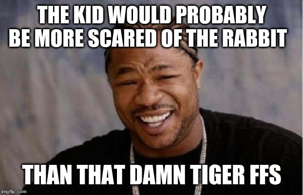 Yo Dawg Heard You Meme | THE KID WOULD PROBABLY BE MORE SCARED OF THE RABBIT THAN THAT DAMN TIGER FFS | image tagged in memes,yo dawg heard you | made w/ Imgflip meme maker