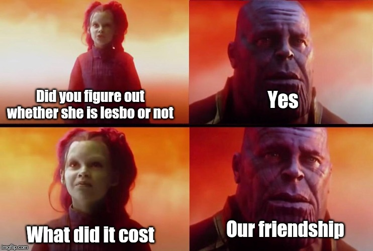 What did it cost? | Did you figure out whether she is lesbo or not Yes What did it cost Our friendship | image tagged in what did it cost | made w/ Imgflip meme maker