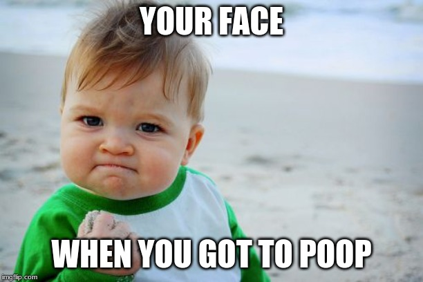 Success Kid Original | YOUR FACE WHEN YOU GOT TO POOP | image tagged in memes,success kid original | made w/ Imgflip meme maker