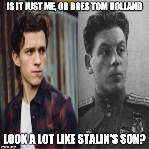 They are quite similar. |  IS IT JUST ME, OR DOES TOM HOLLAND; LOOK A LOT LIKE STALIN'S SON? | image tagged in funny,memes | made w/ Imgflip meme maker