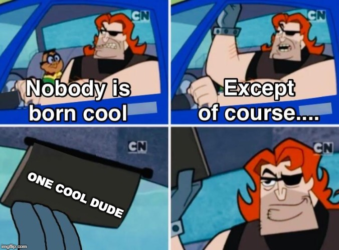 Nobody is born cool |  ONE COOL DUDE | image tagged in nobody is born cool | made w/ Imgflip meme maker