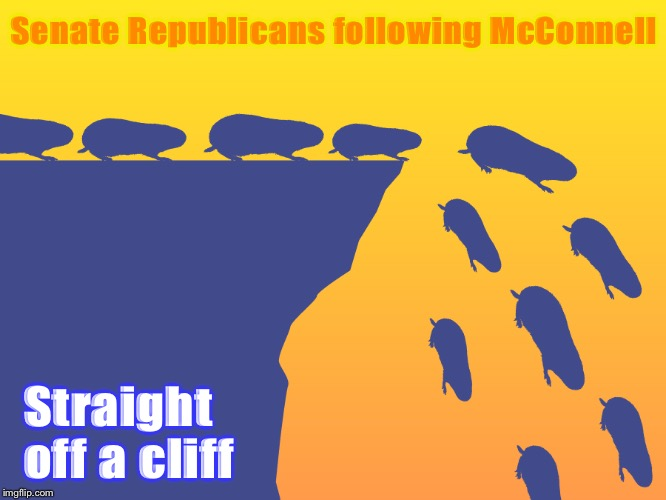The GOP goes out on a limb — for Donald f-in' Trump | Senate Republicans following McConnell Straight off a cliff | image tagged in lemmings,trump impeachment,impeachment,mitch mcconnell,senate,gop | made w/ Imgflip meme maker