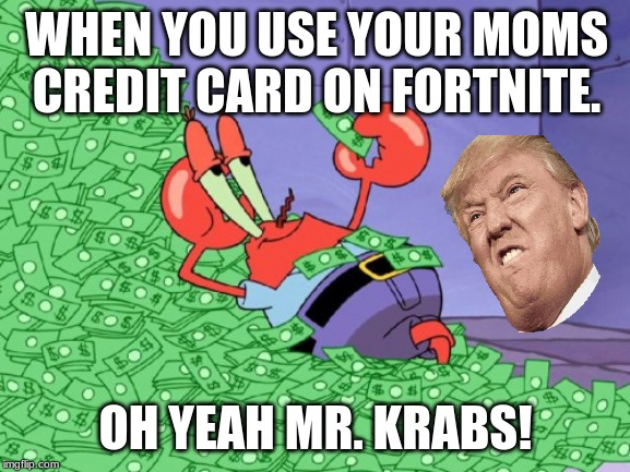 mr krabs money |  WHEN YOU USE YOUR MOMS CREDIT CARD ON FORTNITE. OH YEAH MR. KRABS! | image tagged in mr krabs money | made w/ Imgflip meme maker