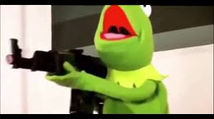 kermit with a huge glock Meme Template
