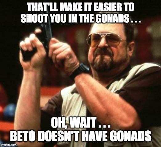 THAT'LL MAKE IT EASIER TO SHOOT YOU IN THE GONADS . . . OH, WAIT . . . BETO DOESN'T HAVE GONADS | image tagged in gun | made w/ Imgflip meme maker
