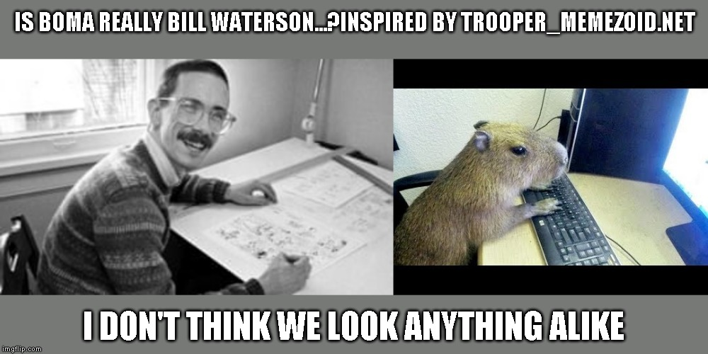 Well except maybe for the mustache |  IS BOMA REALLY BILL WATERSON...?INSPIRED BY TROOPER_MEMEZOID.NET; I DON'T THINK WE LOOK ANYTHING ALIKE | image tagged in boma,face reveal,just a joke | made w/ Imgflip meme maker