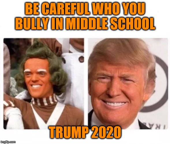 don't bully trump |  BE CAREFUL WHO YOU BULLY IN MIDDLE SCHOOL; TRUMP 2020 | image tagged in oompa loompa trump,donald trump | made w/ Imgflip meme maker