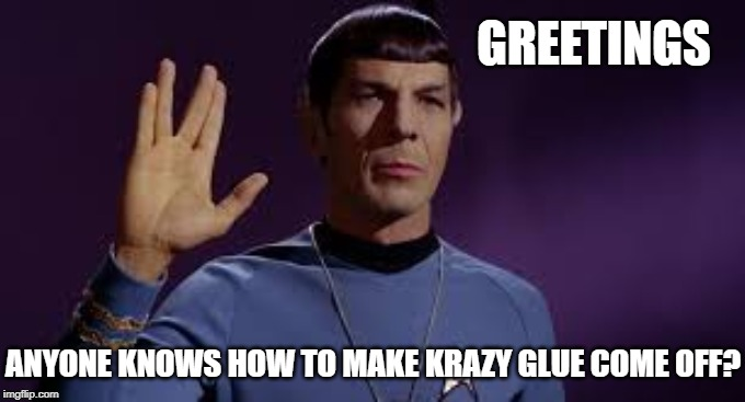 GREETINGS ANYONE KNOWS HOW TO MAKE KRAZY GLUE COME OFF? | image tagged in star trek,jokes | made w/ Imgflip meme maker
