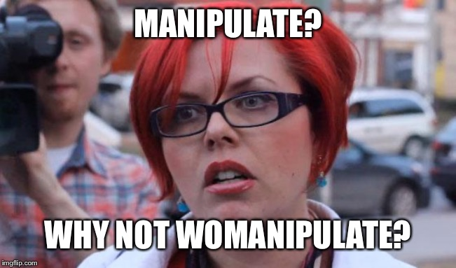 Angry Feminist |  MANIPULATE? WHY NOT WOMANIPULATE? | image tagged in angry feminist | made w/ Imgflip meme maker