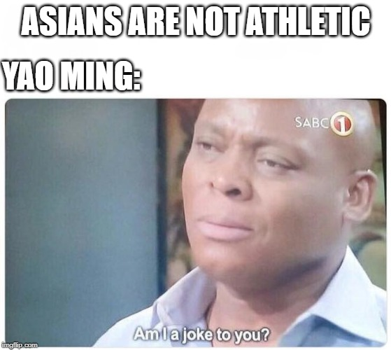 Am I a joke to you |  ASIANS ARE NOT ATHLETIC; YAO MING: | image tagged in am i a joke to you | made w/ Imgflip meme maker