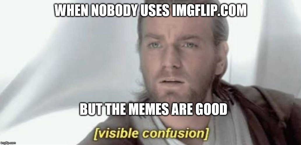 Visible Confusion | WHEN NOBODY USES IMGFLIP.COM BUT THE MEMES ARE GOOD | image tagged in visible confusion | made w/ Imgflip meme maker