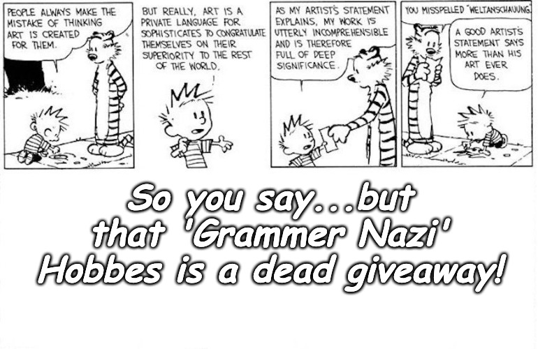 No hiding place for 'Grammar Nazi's' | So you say...but that 'Grammer Nazi' Hobbes is a dead giveaway! | made w/ Imgflip meme maker