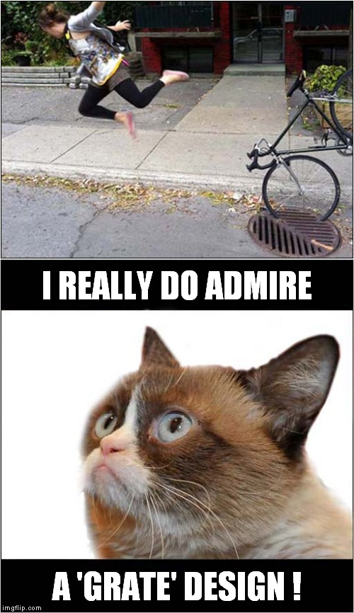 Grumpys Great Grate Design |  I REALLY DO ADMIRE; A 'GRATE' DESIGN ! | image tagged in fun,grumpy cat,cycling | made w/ Imgflip meme maker
