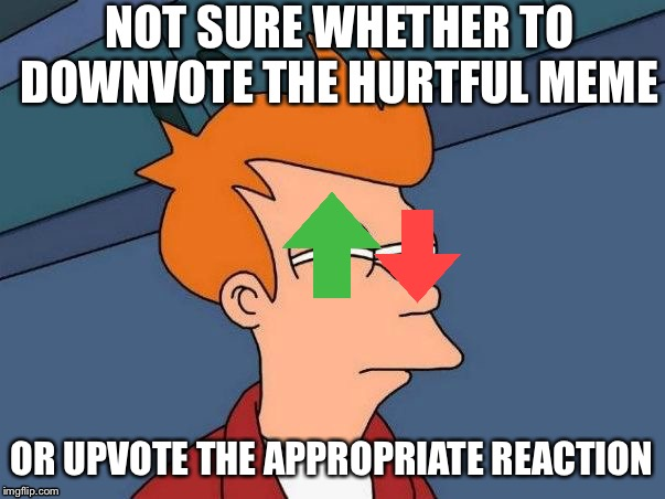 Not sure if- fry |  NOT SURE WHETHER TO DOWNVOTE THE HURTFUL MEME; OR UPVOTE THE APPROPRIATE REACTION | image tagged in not sure if- fry | made w/ Imgflip meme maker