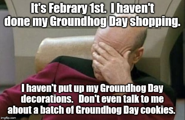 Captain Picard Facepalm Meme | It's Febrary 1st.  I haven't done my Groundhog Day shopping. I haven't put up my Groundhog Day decorations.   Don't even talk to me about a  | image tagged in memes,captain picard facepalm | made w/ Imgflip meme maker