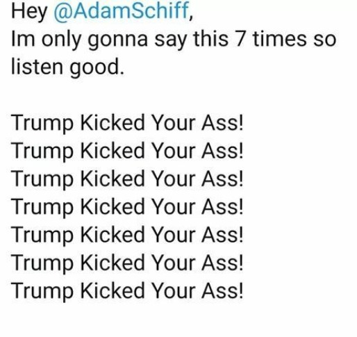 Hey Adam Schiff, I'm only gonna says this 7 times so listen good. | image tagged in trump,adam schiff,nancy pelosi is crazy,kangaroo court,trump impeachment,stupid liberals | made w/ Imgflip meme maker