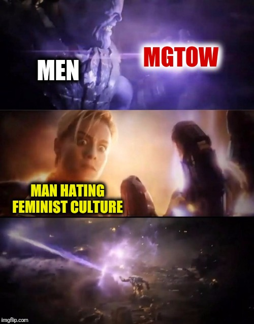 Metaphorically of course.. | MEN MGTOW MAN HATING FEMINIST CULTURE | image tagged in thanos vs captain marvel,mgtow,memes,funny meme,funny | made w/ Imgflip meme maker