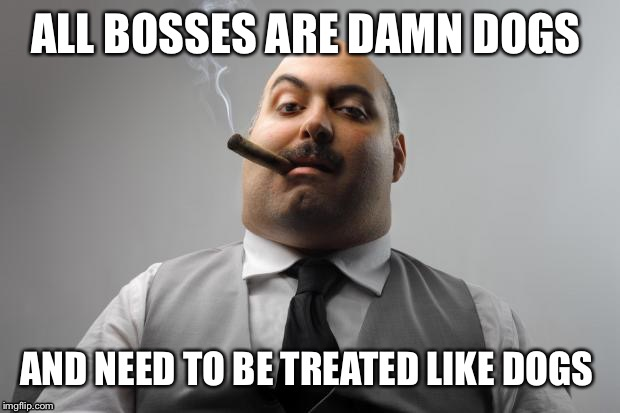 Scumbag Boss Meme | ALL BOSSES ARE DAMN DOGS AND NEED TO BE TREATED LIKE DOGS | image tagged in memes,scumbag boss | made w/ Imgflip meme maker