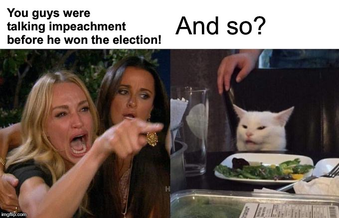 Woman Yelling At Cat Meme | You guys were talking impeachment before he won the election! And so? | image tagged in memes,woman yelling at cat | made w/ Imgflip meme maker