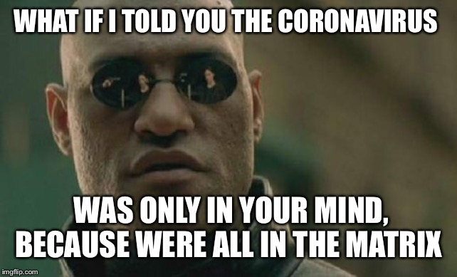 Reality | WHAT IF I TOLD YOU THE CORONAVIRUS WAS ONLY IN YOUR MIND, BECAUSE WERE ALL IN THE MATRIX | image tagged in memes,matrix morpheus,matrix,funny,dark,reality | made w/ Imgflip meme maker