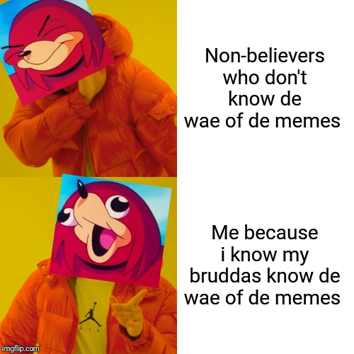 My bruddas I dare any of you to beat dis meme if u know de wae lmfao xD | Non-believers who don't know de wae of de memes Me because i know my bruddas know de wae of de memes | image tagged in memes,drake hotline bling,ugandan knuckles,dank memes,funny memes,de wae | made w/ Imgflip meme maker