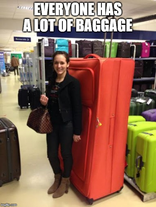 Big suitcase woman | EVERYONE HAS A LOT OF BAGGAGE | image tagged in big suitcase woman | made w/ Imgflip meme maker