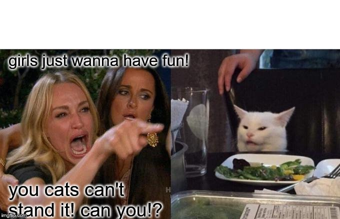Woman Yelling At Cat |  girls just wanna have fun! you cats can't stand it! can you!? | image tagged in memes,woman yelling at cat | made w/ Imgflip meme maker