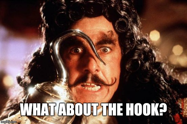 Captain Hook Bad Form | WHAT ABOUT THE HOOK? | image tagged in captain hook bad form | made w/ Imgflip meme maker