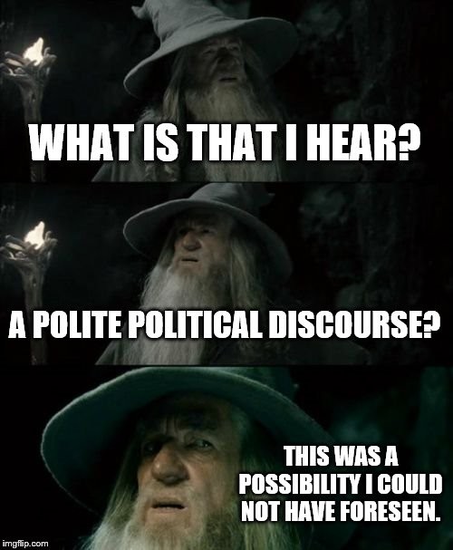 Confused Gandalf |  WHAT IS THAT I HEAR? A POLITE POLITICAL DISCOURSE? THIS WAS A POSSIBILITY I COULD NOT HAVE FORESEEN. | image tagged in memes,confused gandalf | made w/ Imgflip meme maker