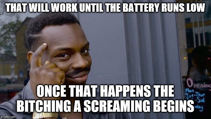 Roll Safe Think About It Meme | THAT WILL WORK UNTIL THE BATTERY RUNS LOW ONCE THAT HAPPENS THE B**CHING A SCREAMING BEGINS | image tagged in memes,roll safe think about it | made w/ Imgflip meme maker