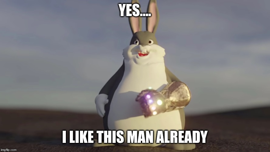Big Chungus W/t Infinity Gantlet | YES.... I LIKE THIS MAN ALREADY | image tagged in big chungus w/t infinity gantlet | made w/ Imgflip meme maker