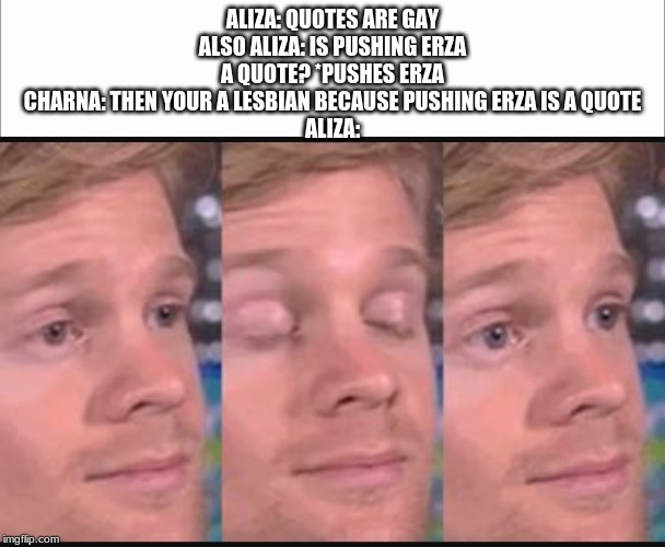 'Quotes are gay' |  ALIZA: QUOTES ARE GAY ALSO ALIZA: IS PUSHING ERZA A QUOTE? *PUSHES ERZA CHARNA: THEN YOUR A LESBIAN BECAUSE PUSHING ERZA IS A QUOTE ALIZA: | image tagged in blinking guy,white screen | made w/ Imgflip meme maker