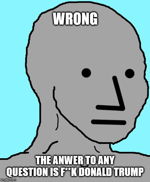 NPC Meme | WRONG THE ANWER TO ANY QUESTION IS F**K DONALD TRUMP | image tagged in memes,npc | made w/ Imgflip meme maker