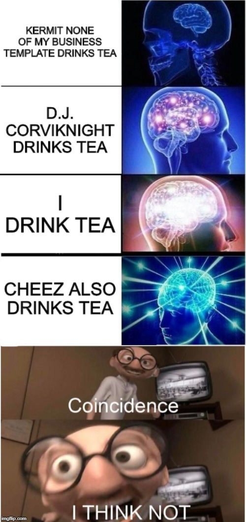 My brain after realizing this... Geez. | image tagged in coincidence i think not,i can has cheezburger cat,tea,drinking | made w/ Imgflip meme maker