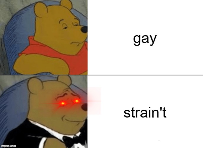 Tuxedo Winnie The Pooh |  gay; strain't | image tagged in memes,tuxedo winnie the pooh | made w/ Imgflip meme maker