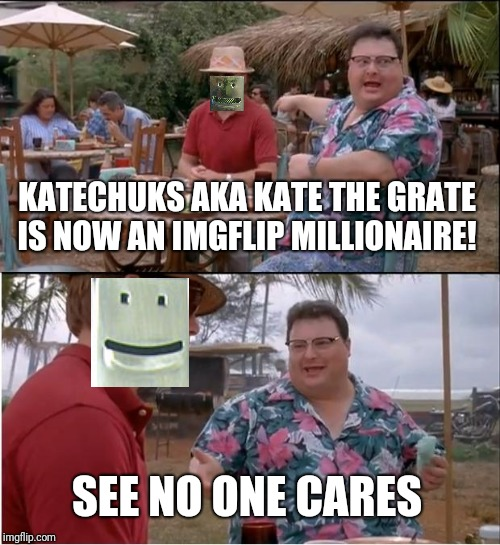 If only points were dollars.  Thanks to everyone for your upvotes and comments that got me here. |  KATECHUKS AKA KATE THE GRATE IS NOW AN IMGFLIP MILLIONAIRE! SEE NO ONE CARES | image tagged in memes,see nobody cares,one million points | made w/ Imgflip meme maker