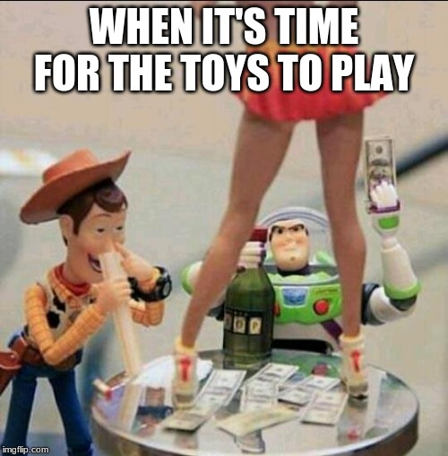 Toy Story Stripper | WHEN IT'S TIME FOR THE TOYS TO PLAY | image tagged in toy story stripper | made w/ Imgflip meme maker