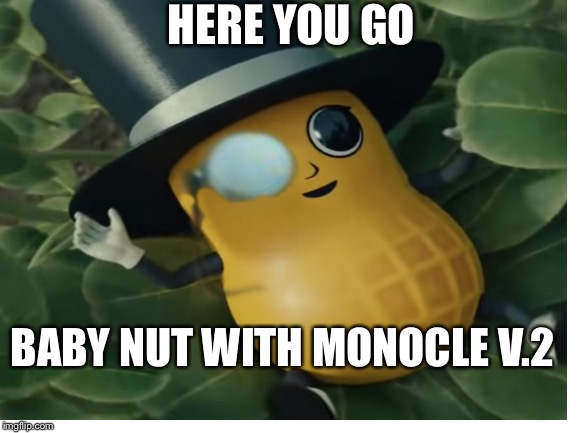 HERE YOU GO BABY NUT WITH MONOCLE V.2 | made w/ Imgflip meme maker