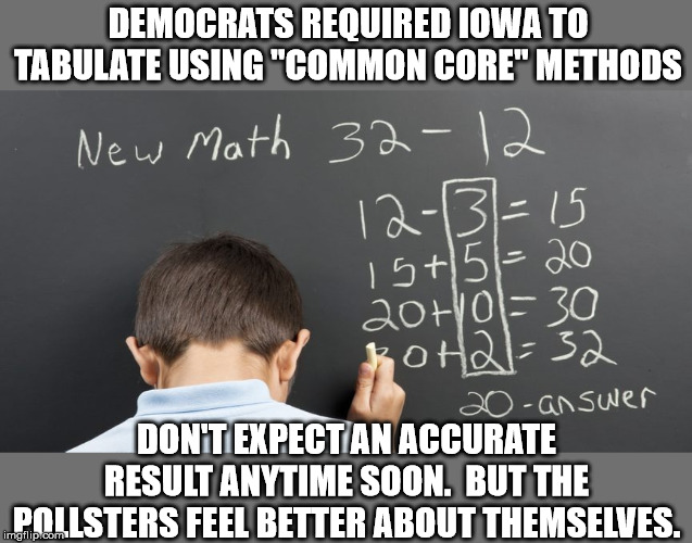 "The final tally: Sanders: Swan; Biden: Crayon; Fauxcohontas: Hexagon; Buttigieg: Sadness | DEMOCRATS REQUIRED IOWA TO TABULATE USING ""COMMON CORE"" METHODS DON'T EXPECT AN ACCURATE RESULT ANYTIME SOON.  BUT THE POLLSTERS FEEL BETTER 