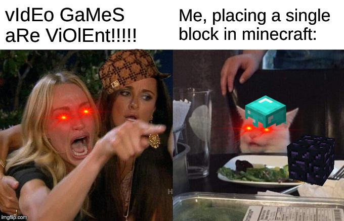 This is true | vIdEo GaMeS aRe ViOlEnt!!!!! Me, placing a single block in minecraft: | image tagged in memes,woman yelling at cat,funny | made w/ Imgflip meme maker