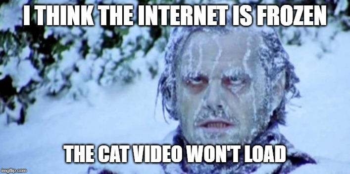 The Internet Froze |  I THINK THE INTERNET IS FROZEN; THE CAT VIDEO WON'T LOAD | image tagged in internet,frozen,cat video | made w/ Imgflip meme maker