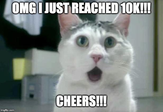 OMG Cat | OMG I JUST REACHED 10K!!! CHEERS!!! | image tagged in memes,omg cat | made w/ Imgflip meme maker