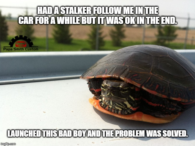 Making life on the road easier. |  HAD A STALKER FOLLOW ME IN THE CAR FOR A WHILE BUT IT WAS OK IN THE END. LAUNCHED THIS BAD BOY AND THE PROBLEM WAS SOLVED. | image tagged in mario kart,red,shell,cars,car meme,turtle meme | made w/ Imgflip meme maker