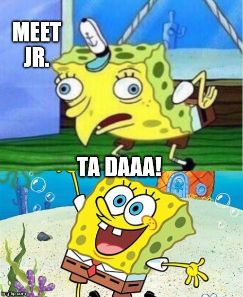 MEET JR. TA DAAA! | image tagged in memes,mocking spongebob | made w/ Imgflip meme maker