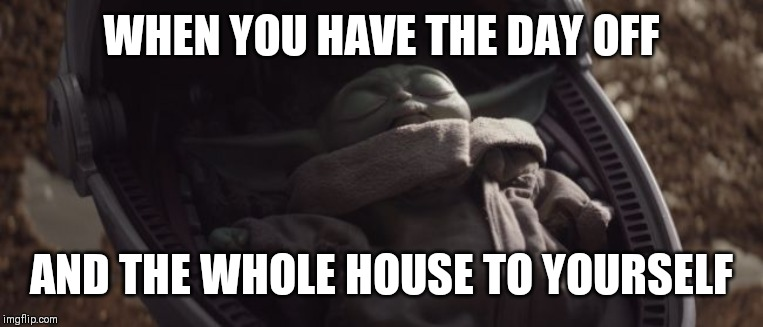 Baby Yoda Sleeping |  WHEN YOU HAVE THE DAY OFF; AND THE WHOLE HOUSE TO YOURSELF | image tagged in baby yoda sleeping | made w/ Imgflip meme maker