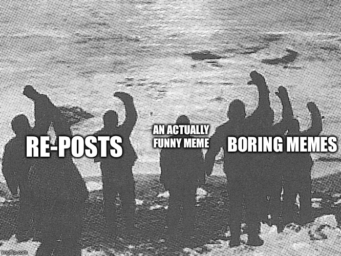 RE-POSTS; AN ACTUALLY FUNNY MEME; BORING MEMES | image tagged in surround | made w/ Imgflip meme maker