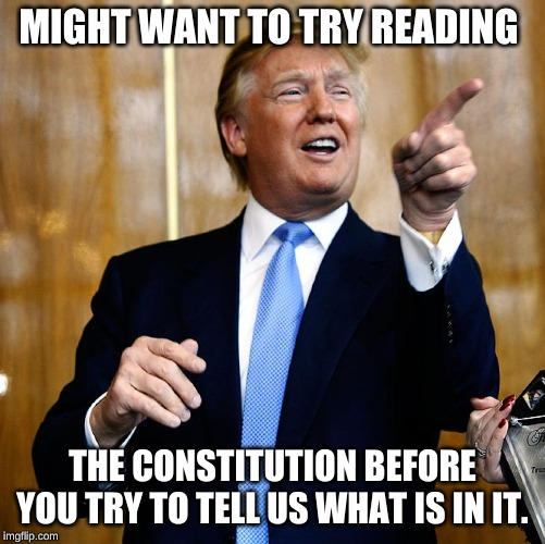 Donal Trump Birthday | MIGHT WANT TO TRY READING THE CONSTITUTION BEFORE YOU TRY TO TELL US WHAT IS IN IT. | image tagged in donal trump birthday | made w/ Imgflip meme maker