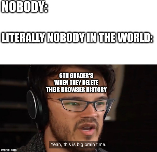 It's Big Brain Time | NOBODY: LITERALLY NOBODY IN THE WORLD: 6TH GRADER'S WHEN THEY DELETE THEIR BROWSER HISTORY | image tagged in it's big brain time | made w/ Imgflip meme maker